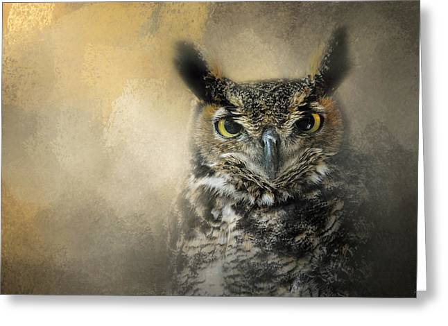 Tufted Ears Greeting Cards - Golden Eyes Greeting Card by Jai Johnson