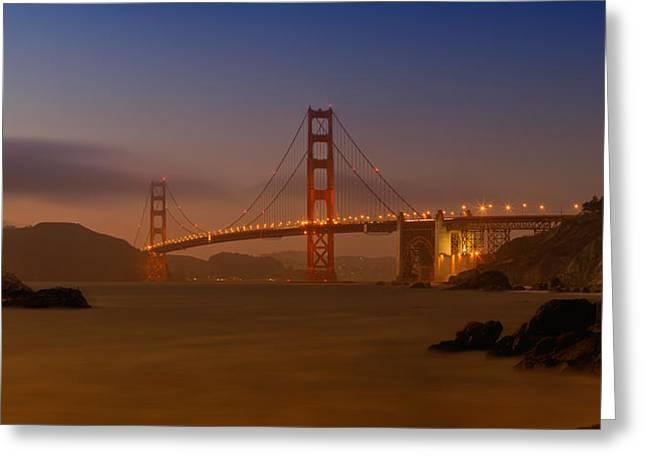 Nature Scene Digital Art Greeting Cards - Golden Gate Bridge at Sunset Greeting Card by Melanie Viola