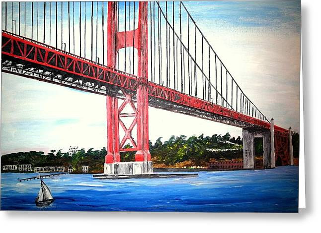 Golden Gate Drawings Greeting Cards - Golden Gate Bridge Greeting Card by Irving Starr