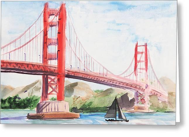 Golden Gate Bridge Greeting Card by Masha Batkova