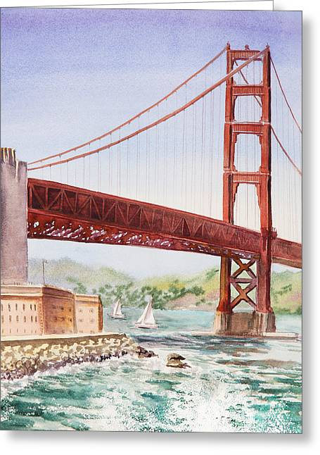 San Francisco Golden Gate Bridge Greeting Cards - Golden Gate Bridge San Francisco Greeting Card by Irina Sztukowski