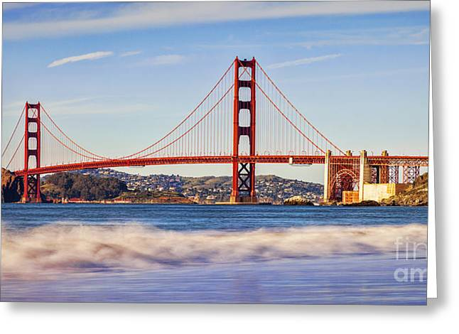 Golden Greeting Cards - Golden Gate Evening Greeting Card by Colin and Linda McKie