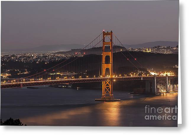 Downtown San Francisco Greeting Cards - Golden Gate Greeting Card by Shishir Sathe