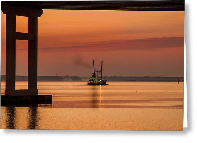 Biloxi Ocean Springs Bridge Greeting Cards - Golden Morning 2 Greeting Card by Jeannie Meyer