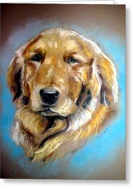 Puppies Pastels Greeting Cards - Golden retriever Greeting Card by Tamaki Hamano
