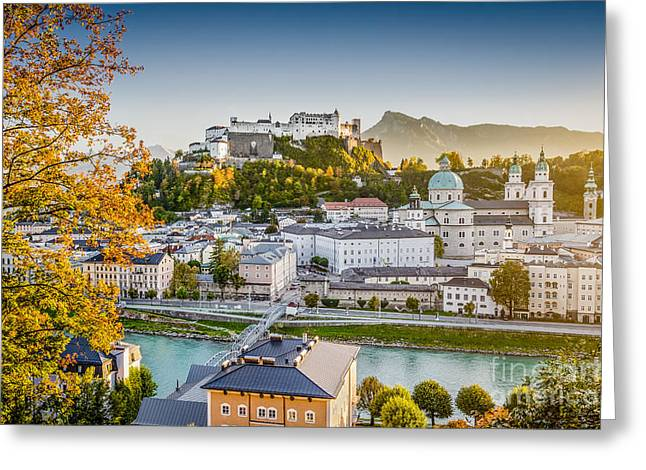 Salzburg Greeting Cards - Golden Salzburg Greeting Card by JR Photography