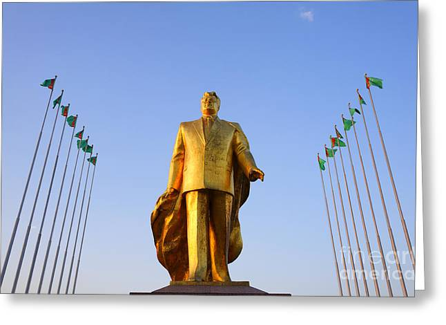 Independence Park Greeting Cards - Golden statue of Niyazov in the Park of Independence in Ashgabat Turkmenistan Greeting Card by Robert Preston