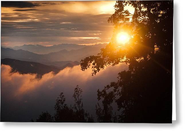 Golden Sunset Himalayas Mountain Nepal Greeting Card by Raimond Klavins