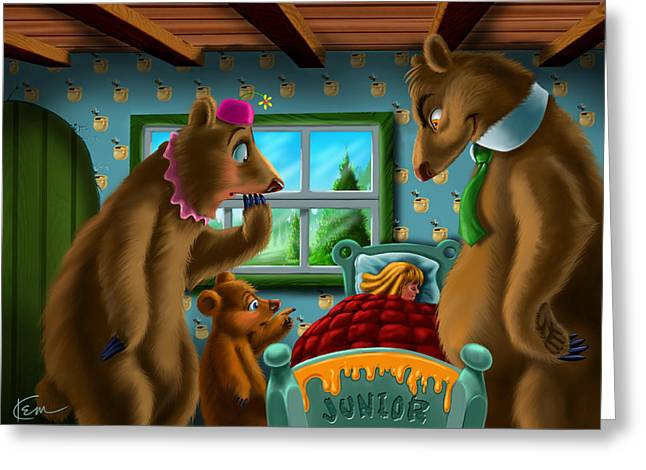 Goldilocks Greeting Cards - Goldie and the 3 Bears Greeting Card by Kem Welch