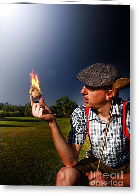 Suspenders Greeting Cards - Golf Ball Flames Greeting Card by Ryan Jorgensen