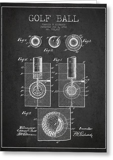 Caddy Greeting Cards - Golf Ball Patent Drawing From 1902 Greeting Card by Aged Pixel