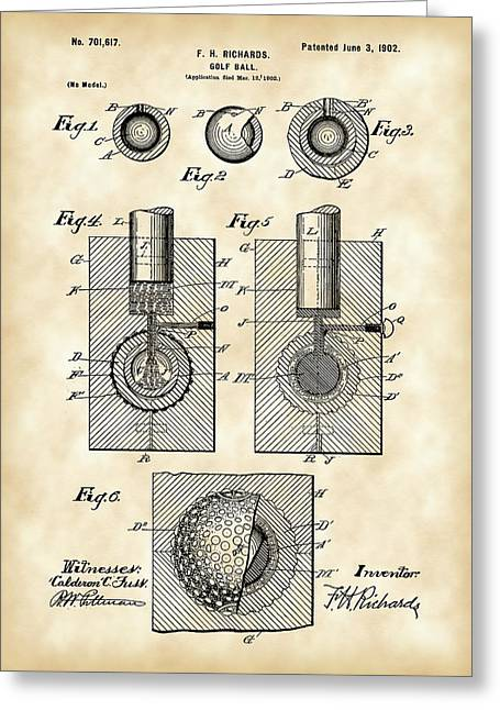 Illustrations Greeting Cards - Golf Ball Patent 1902 - Vintage Greeting Card by Stephen Younts