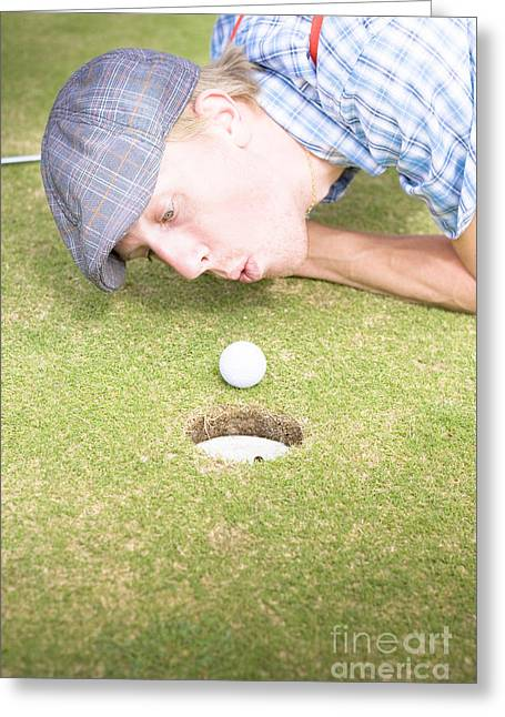 Golf Cheating Greeting Card by Jorgo Photography - Wall Art Gallery