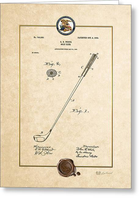 Sports Memorabilia Greeting Cards - Golf club by Rollin H. White - Vintage Patent Document Greeting Card by Serge Averbukh