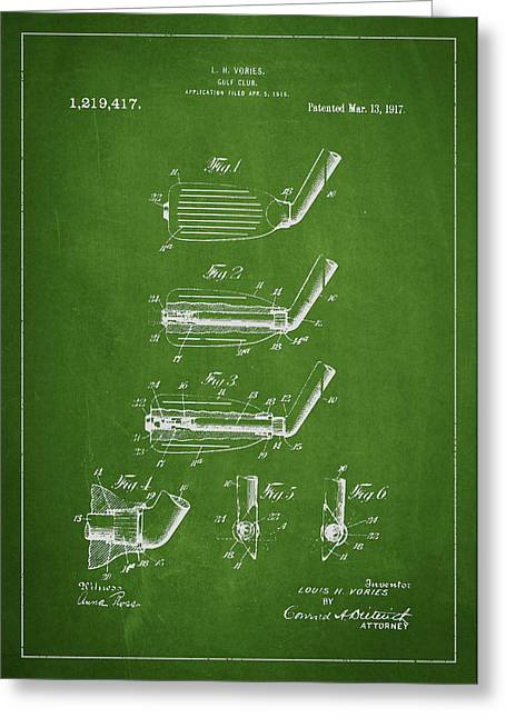 Play Digital Greeting Cards - Golf Club Patent Drawing From 1917 Greeting Card by Aged Pixel