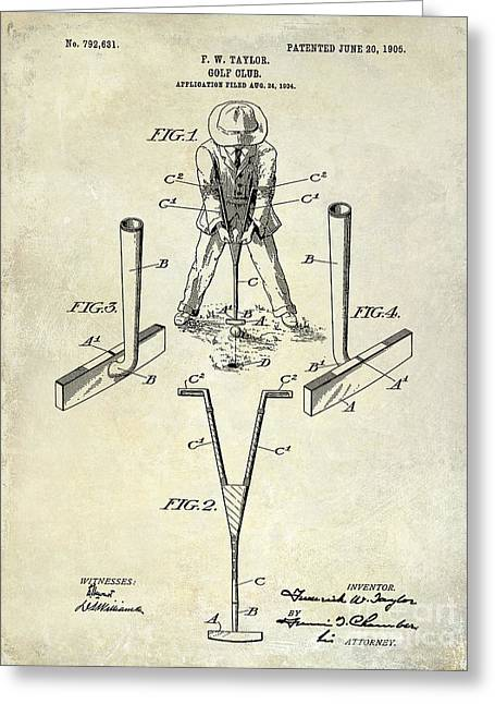 Golf Photographs Greeting Cards - Golf Club Patent Drawing Greeting Card by Jon Neidert