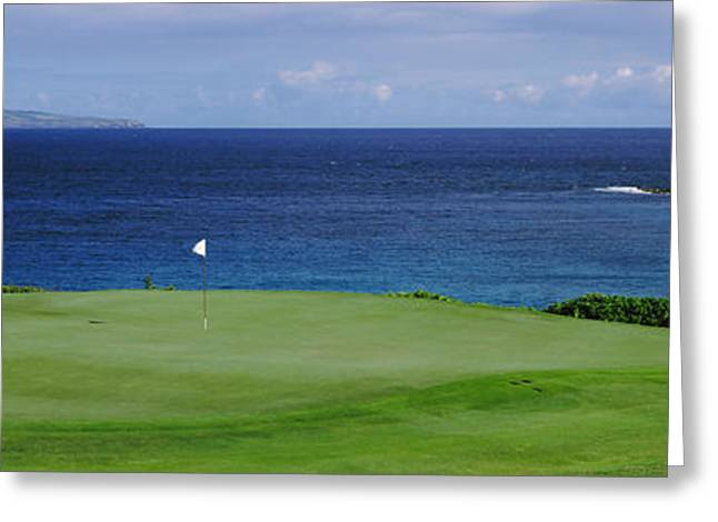 Ocean Photography Greeting Cards - Golf Course At The Oceanside, Kapalua Greeting Card by Panoramic Images
