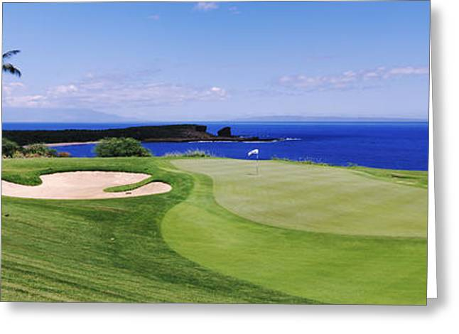 Non Urban Scene Greeting Cards - Golf Course At The Oceanside, The Greeting Card by Panoramic Images