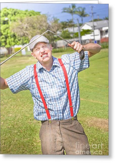 Suspenders Greeting Cards - Golf Temper Tantrum Greeting Card by Ryan Jorgensen