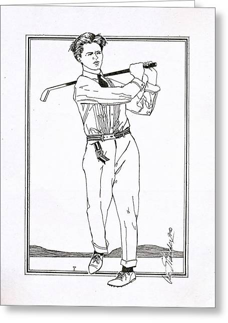 Apparel Drawings Greeting Cards - Golfer 1915 Greeting Card by Ira Shander