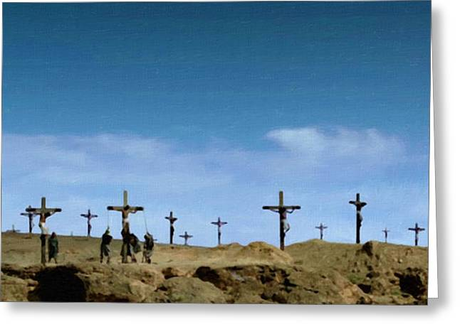 Catholic Art Greeting Cards - Golgotha Greeting Card by Victor Gladkiy