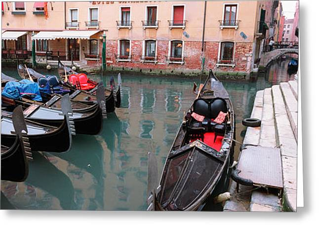 Awning Photographs Greeting Cards - Gondolas In A Canal, Grand Canal Greeting Card by Panoramic Images