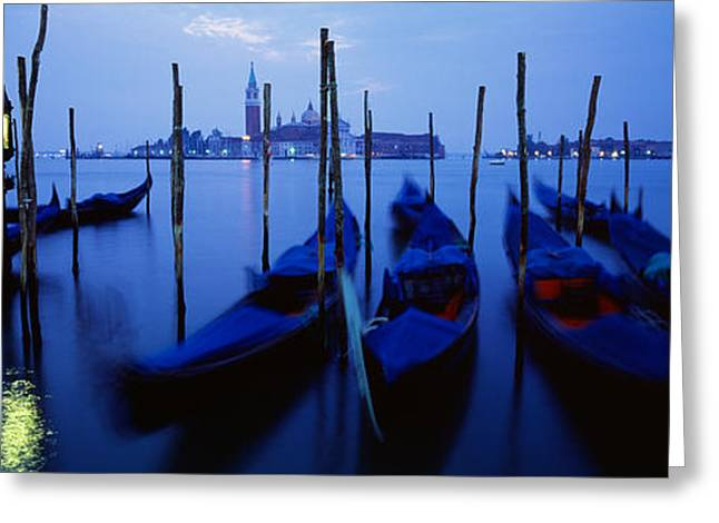Reflection In Water Greeting Cards - Gondolas Moored In A Canal, Grand Greeting Card by Panoramic Images