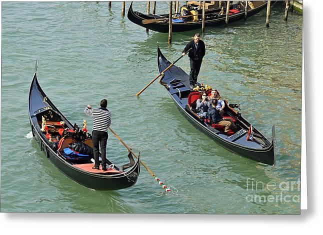 Gondolas On Grand Canal Greeting Card by Sami Sarkis