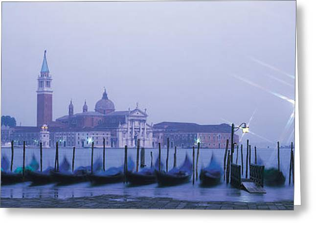 Docked Boat Greeting Cards - Gondolas San Giorgio Maggiore Venice Greeting Card by Panoramic Images