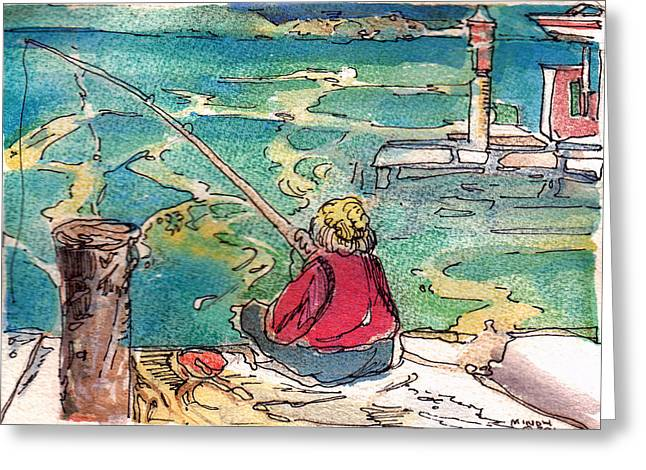 Pole Drawings Greeting Cards - Gone Fishing Greeting Card by Mindy Newman