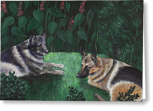 Old Dogs Greeting Cards - Good Friends Greeting Card by Anastasiya Malakhova