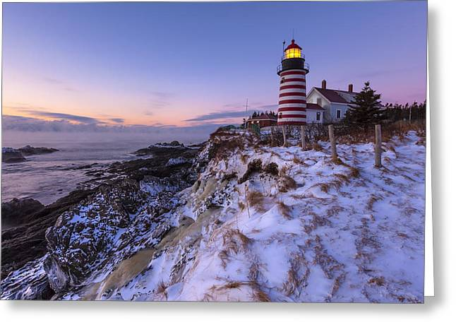 East Quoddy Lighthouse Greeting Cards - Good Morning America Greeting Card by Patrick Downey