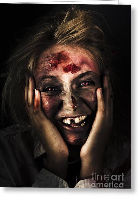 Fiend Greeting Cards - Good Mourning. Face Of A Zombie Apocalypse Greeting Card by Ryan Jorgensen