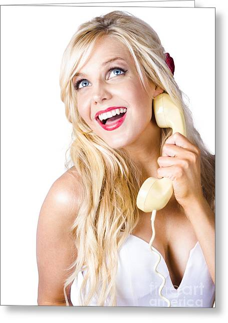 60s Hair Greeting Cards - Gorgeous blond woman laughing on telephone call Greeting Card by Ryan Jorgensen