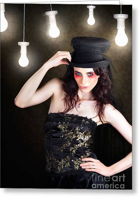 Gorgeous Female Fashion Model Wearing Top Hat Greeting Card by Jorgo Photography - Wall Art Gallery
