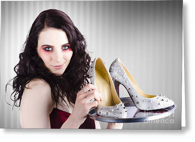 Eveningwear Greeting Cards - Gorgeous retail fashion girl selling luxury shoes  Greeting Card by Ryan Jorgensen