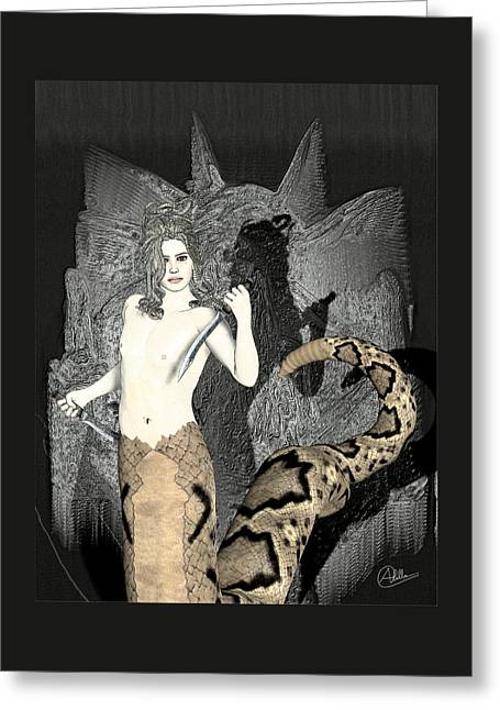 Medusa Mixed Media Greeting Cards - Gorgon Medusa by Quim Abella Greeting Card by Joaquin Abella