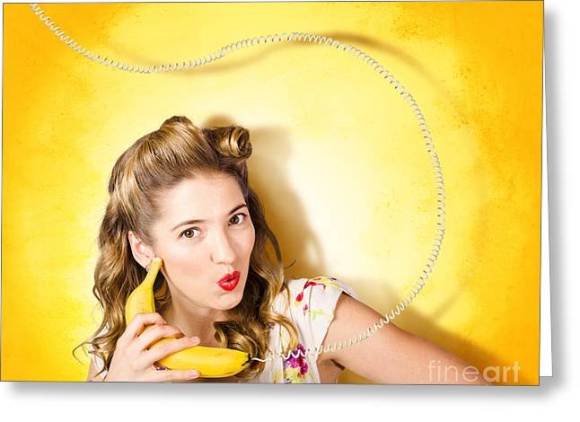 Gossiping Greeting Cards - Gossiping retro pin up girl on fruit phone Greeting Card by Ryan Jorgensen
