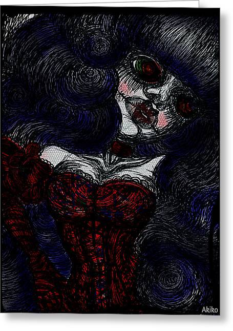 Analog Mixed Media Greeting Cards - Gothic Corset Lady Greeting Card by Akiko Kobayashi
