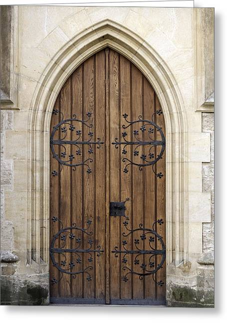 Medieval Entrance Greeting Cards - Gothic door. Greeting Card by Fernando Barozza