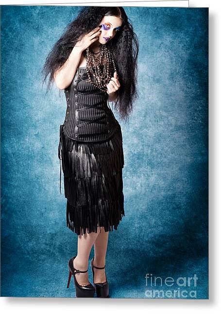 Unique Necklace Greeting Cards - Gothic female fashion model. Elegant black outfit Greeting Card by Ryan Jorgensen