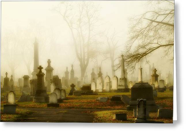 Halloween Scene Greeting Cards - Gothic Morning Greeting Card by Gothicolors Donna Snyder