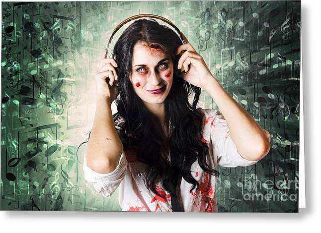 Freakish Greeting Cards - Gothic rock music girl wearing headphones Greeting Card by Ryan Jorgensen