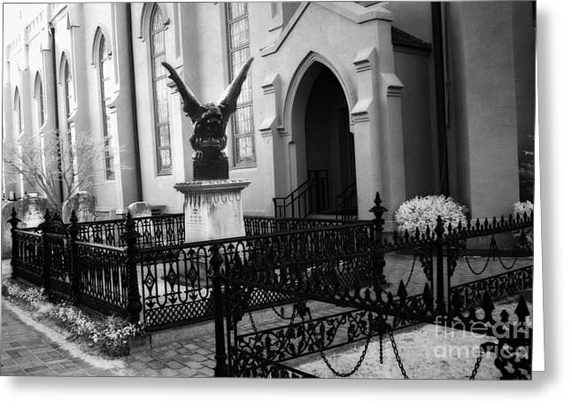 Gargoyles Greeting Cards - Gothic Surreal Church Gargoyle - Surreal Guardian Gargoyle Haunting Spooky Architecture Black Gates Greeting Card by Kathy Fornal