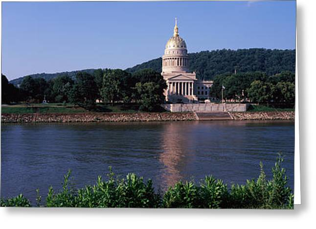 Classical Style Greeting Cards - Government Building At The Riverside Greeting Card by Panoramic Images