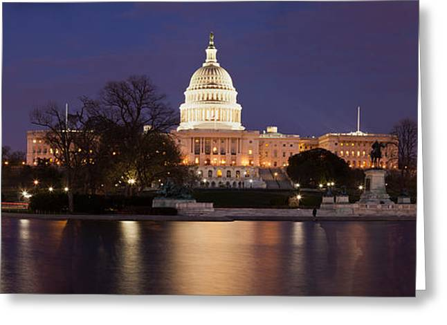 Capitol Greeting Cards - Government Building Lit Up At Dusk Greeting Card by Panoramic Images