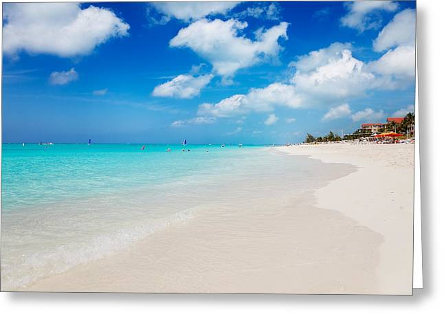 Chaise-lounge Greeting Cards - Grace Bay beach Greeting Card by Jo Ann Snover