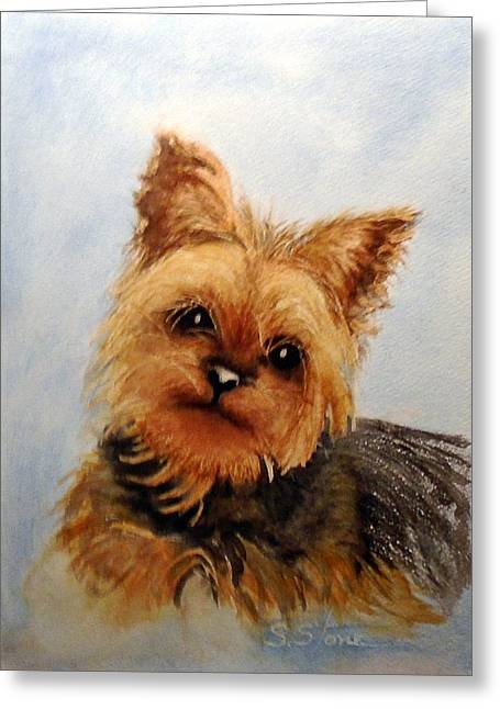 Yorkshire Terrier Watercolor Greeting Cards - Gracie Greeting Card by Sandra Stone