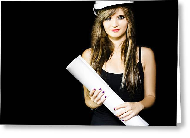 Graduated Background Greeting Cards - Graduate engineer holding construction design plan Greeting Card by Ryan Jorgensen