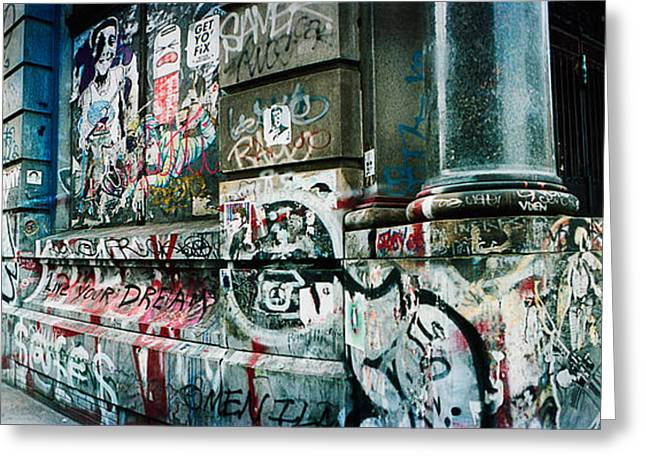 Soho Greeting Cards - Graffiti Covered Germania Bank Building Greeting Card by Panoramic Images
